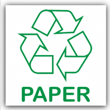 1 x Paper Recycling Bin Adhesive Sticker-Recycle Logo Sign-Environment Label